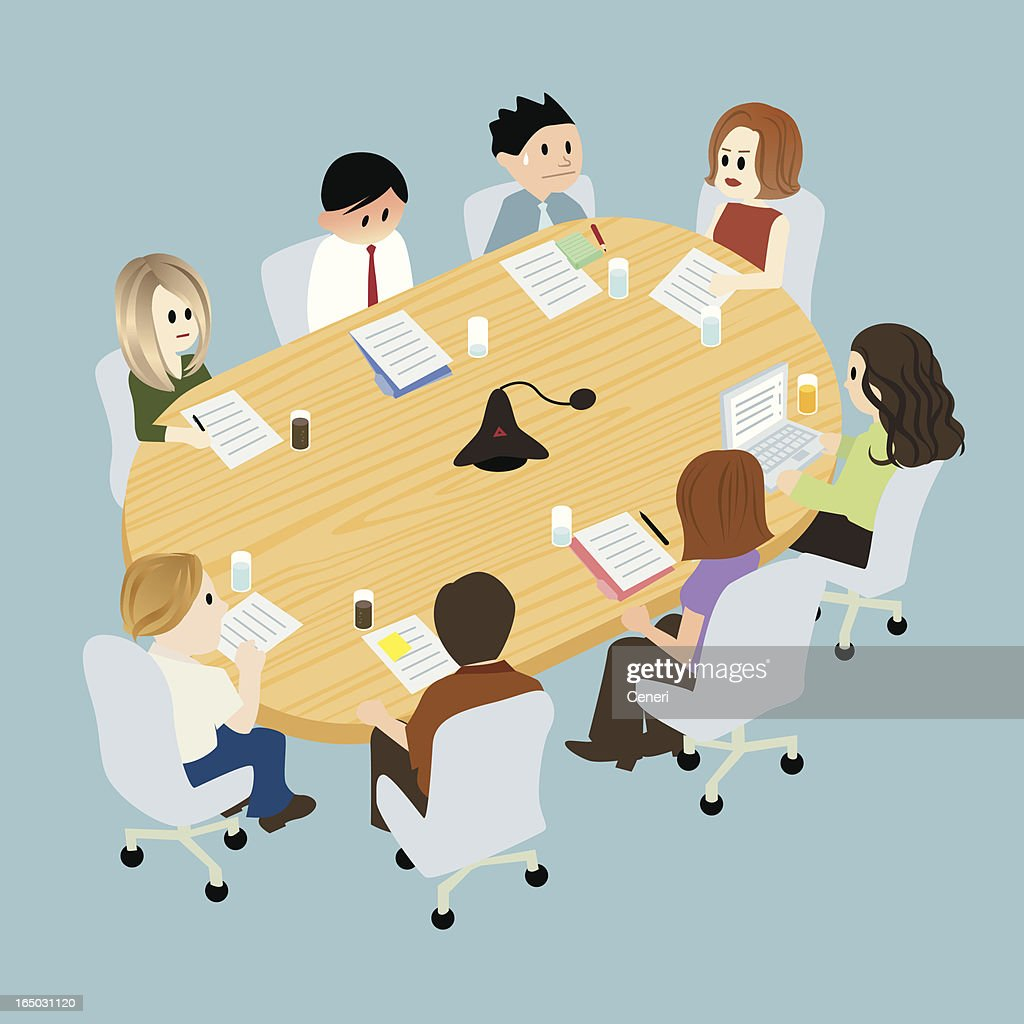 Illustration of people at a table in conference room : stock illustration