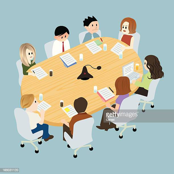 illustration of people at a table in conference room - office politics stock illustrations, clip art, cartoons, & icons