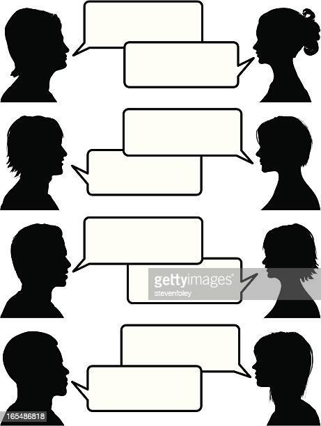 Illustration of people holding conversations