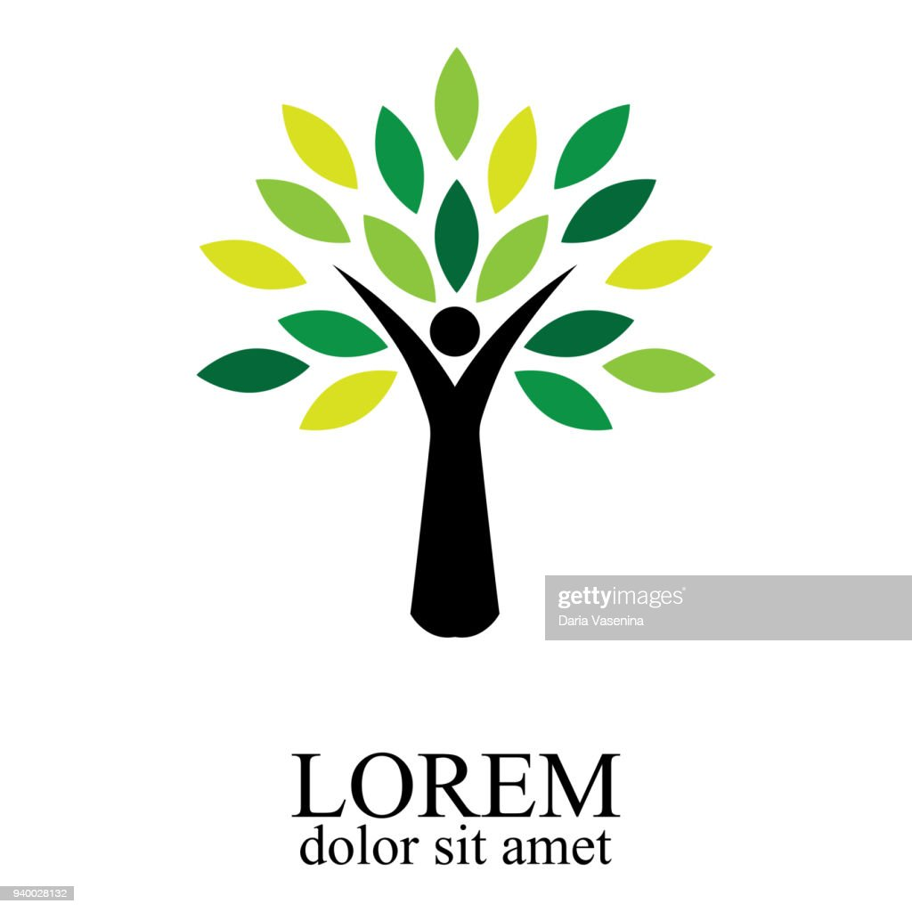 Illustration of people tree design isolated on white background.