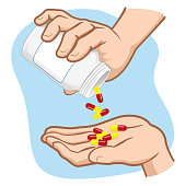 Illustration of person hands taking medicine capsules in a bottle, Caucasian. Ideal for informational and medicinal materials
