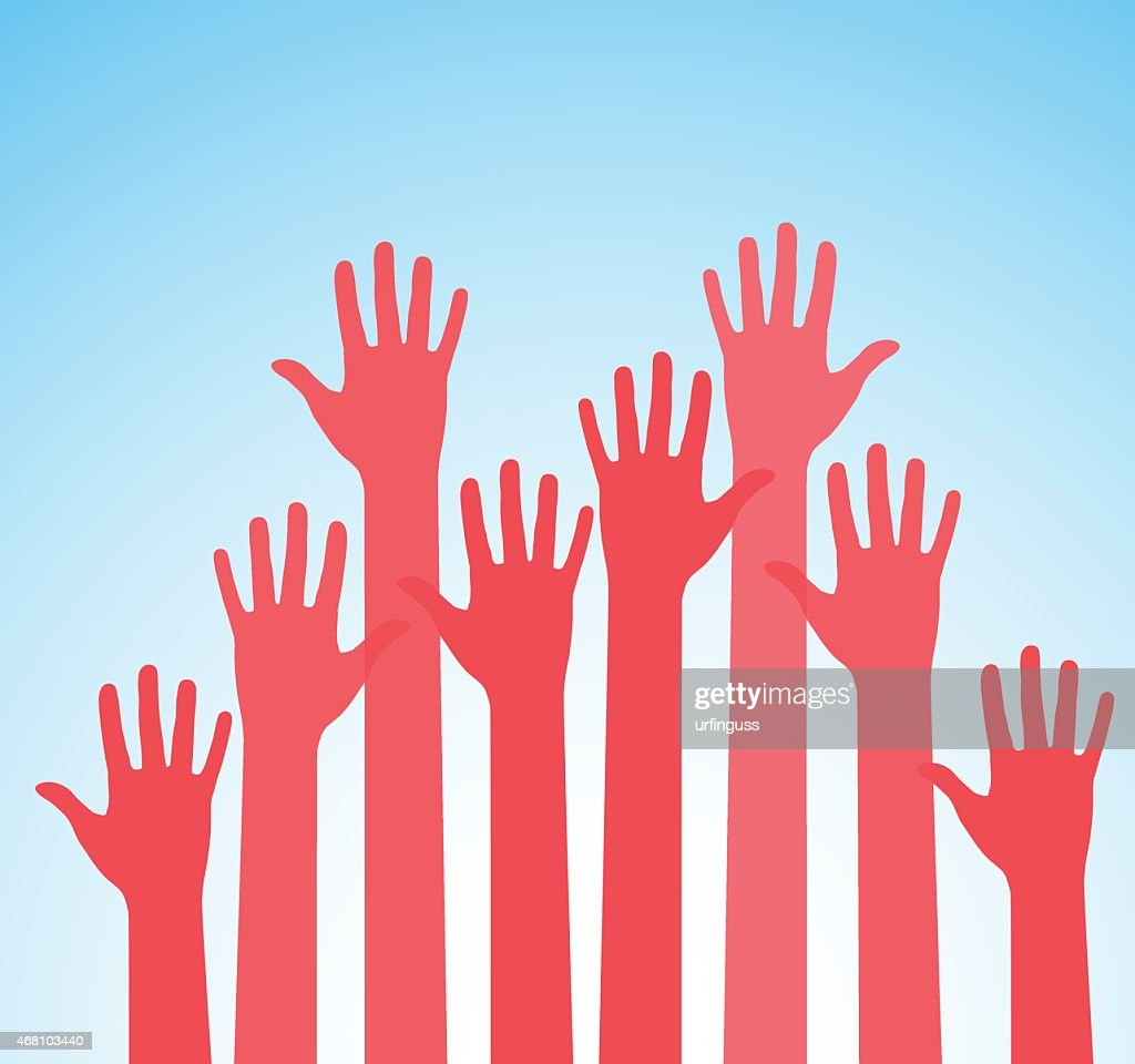 Illustration of pink raised hands upon blue background