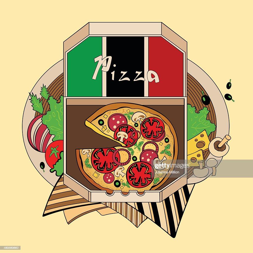 Illustration of pizza : Vector Art