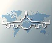 Illustration of plane with world background