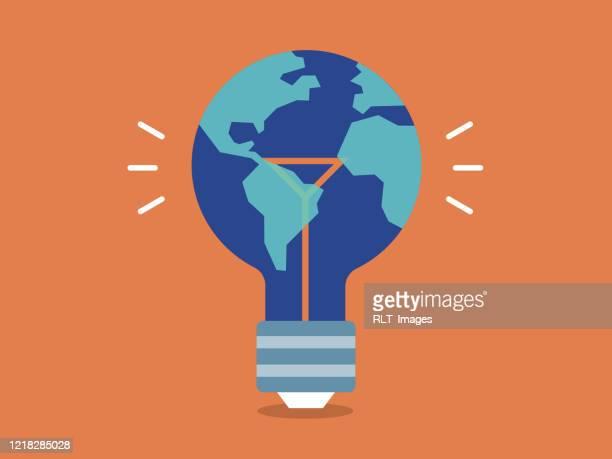 illustrazioni stock, clip art, cartoni animati e icone di tendenza di illustration of planet earth as a lightbulb—ecology, innovation, clean energy - giornata mondiale della terra