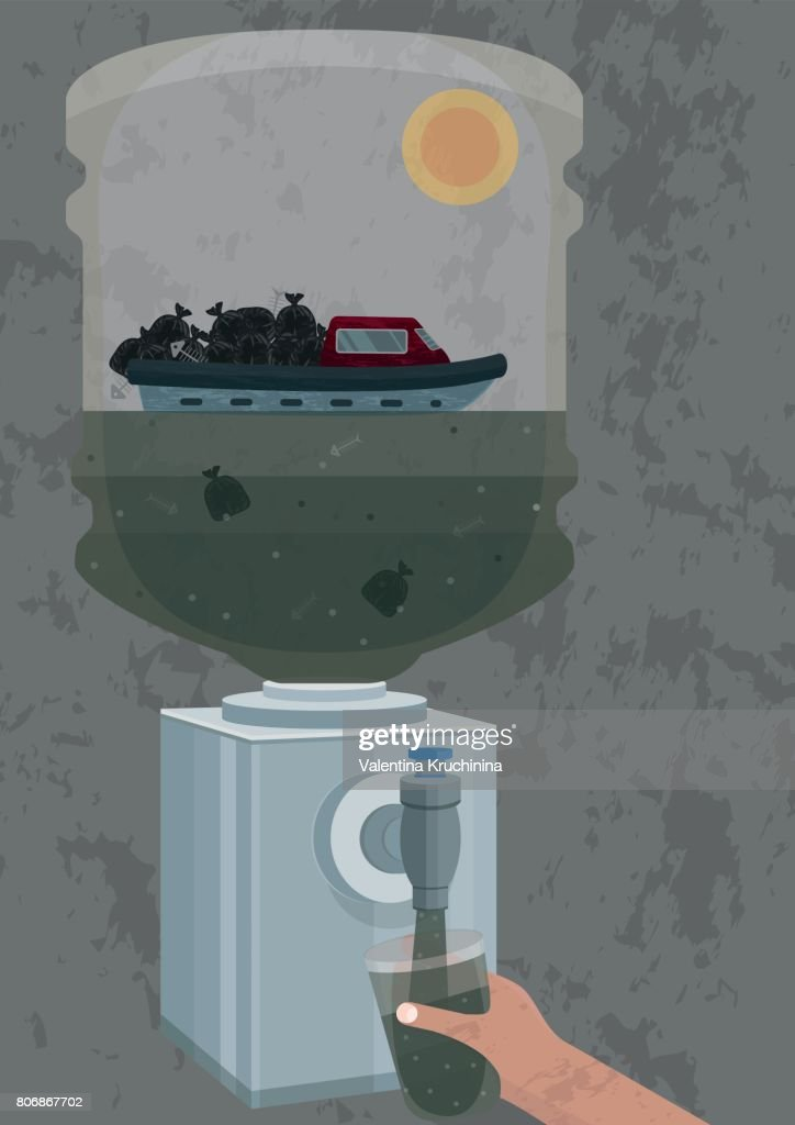 Illustration of pollution of potable water with individual and industrial waste