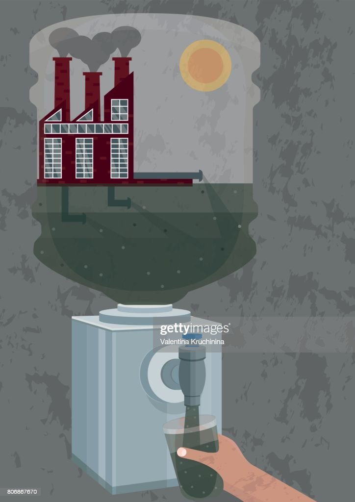 Illustration of pollution of potable water with industrial waste