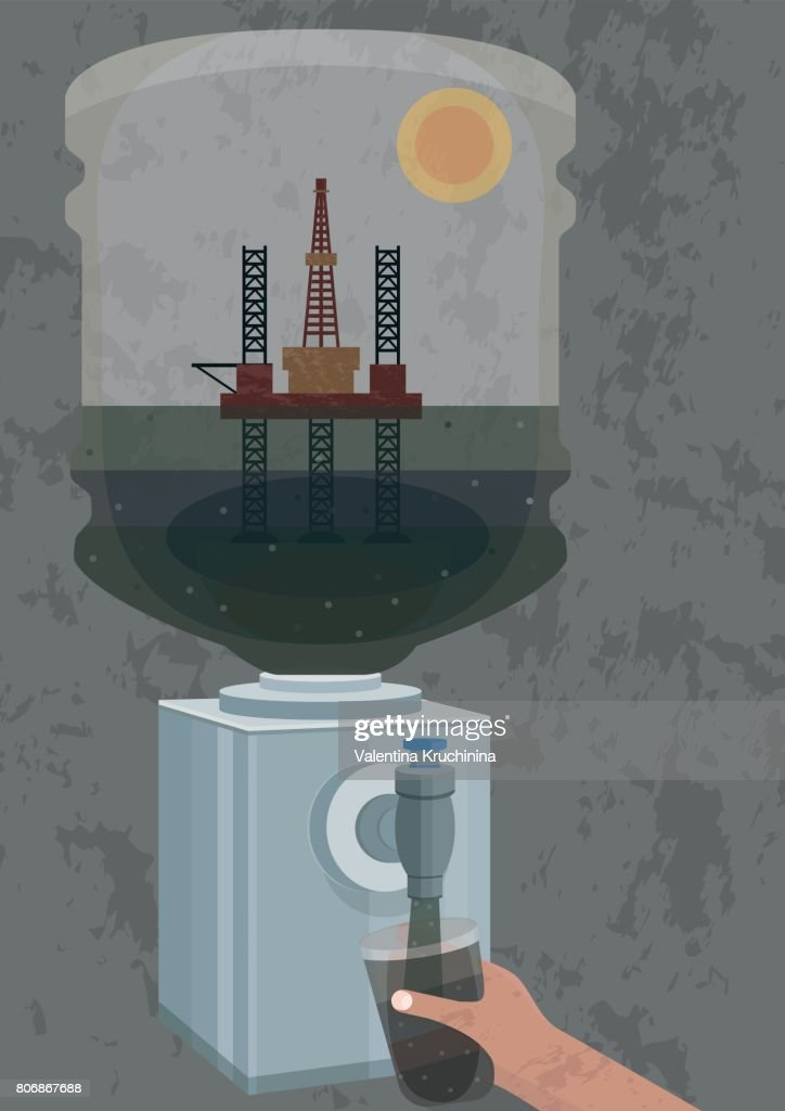 Illustration of pollution of water - oil drilling platform