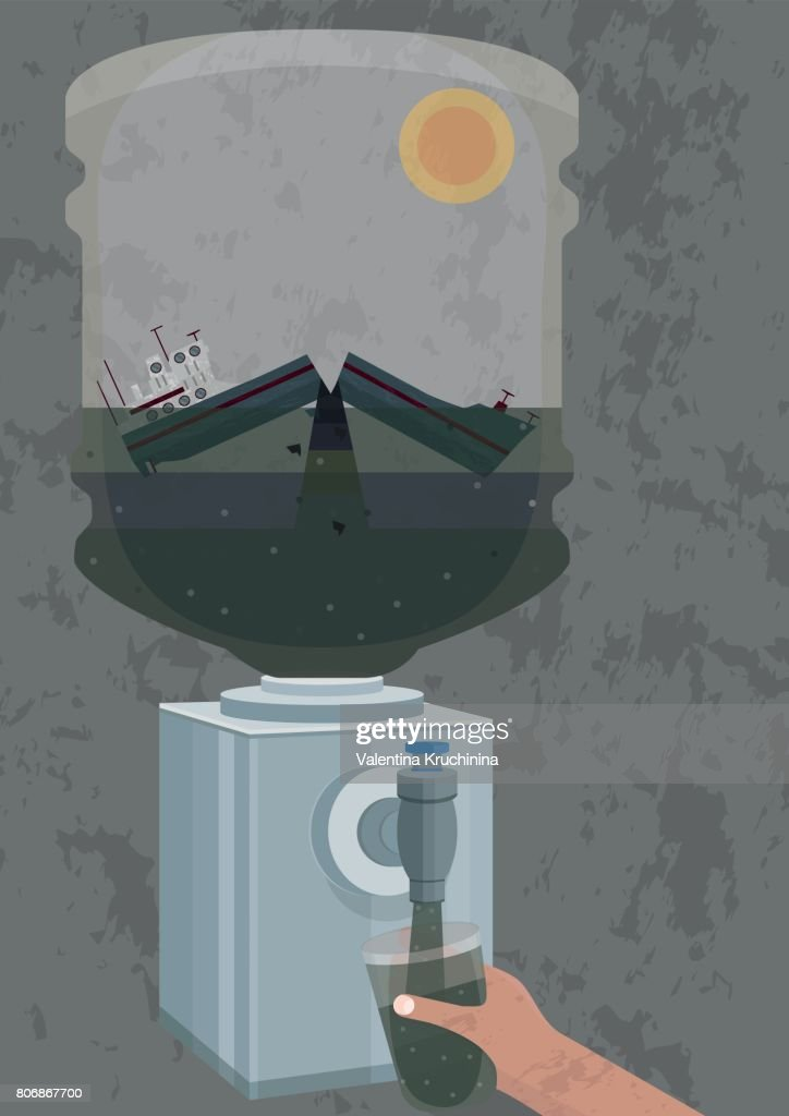 Illustration of pollution of water - oil tanker crush