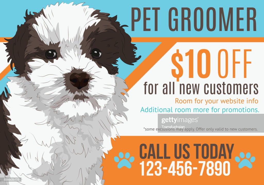 Illustration of Puppy advertising a pet groomer