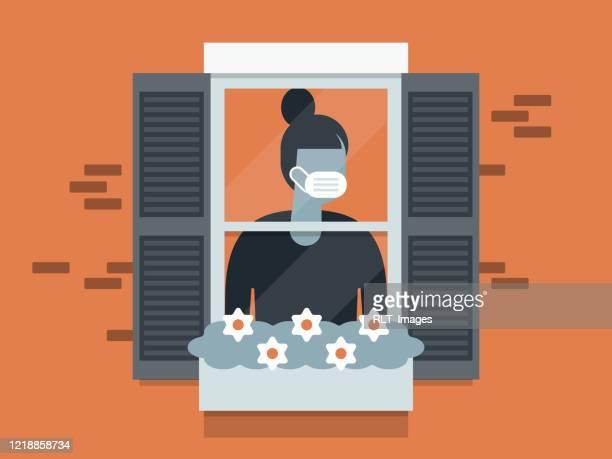 ilustraciones, imágenes clip art, dibujos animados e iconos de stock de ilustración de joven en cuarentena usando máscara facial y mirando por la ventana - cuarentena