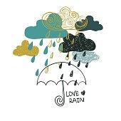 Illustration Of Rain Clouds And Umbrella.