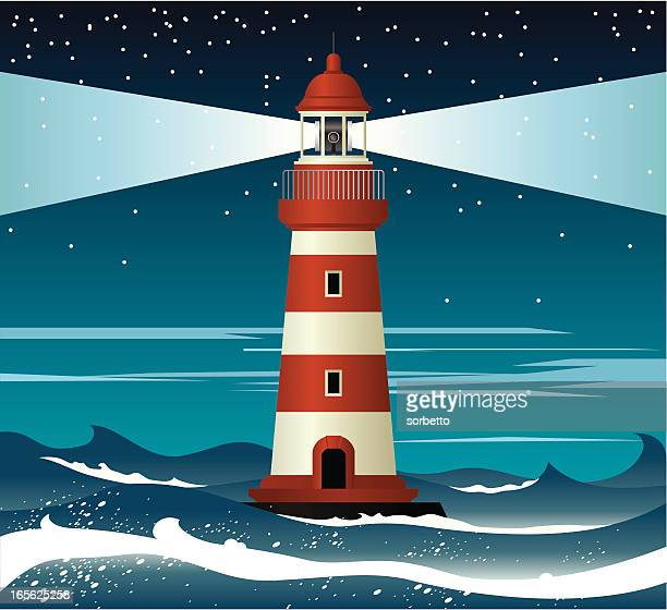 Illustration of red and white lighthouse surrounded by waves