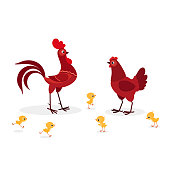 Illustration of red chicken family isolated on white background