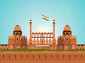 Illustration of Red Fort, Indian Monument.