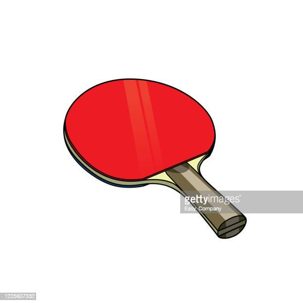illustration of red table tennis racket in a white background for assembling or creating teaching materials for moms doing homeschooling and teachers searching for images for teaching materials such as flashcards or children's books - table tennis racket stock illustrations