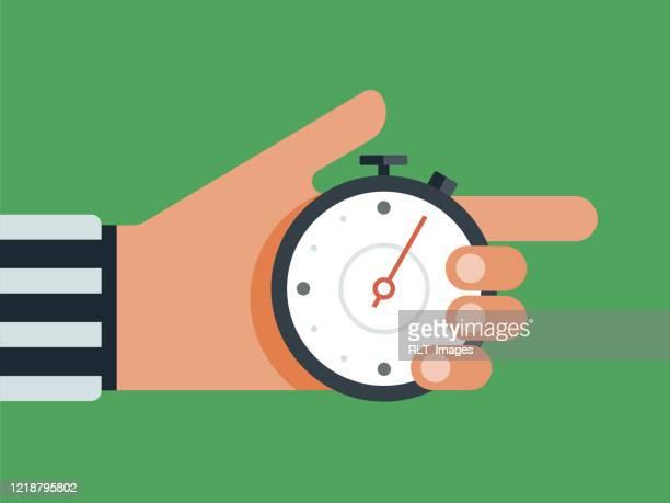 ilustraciones, imágenes clip art, dibujos animados e iconos de stock de ilustración de la mano del árbitro sosteniendo el reloj de parada - árbitro deportes