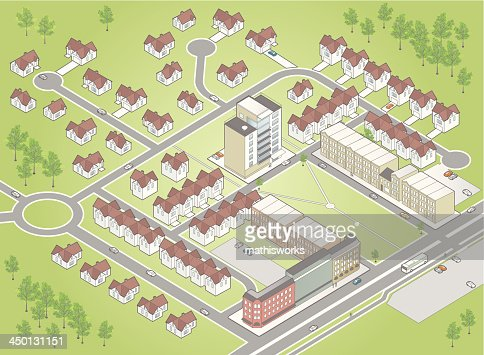 Illustration of residential district map