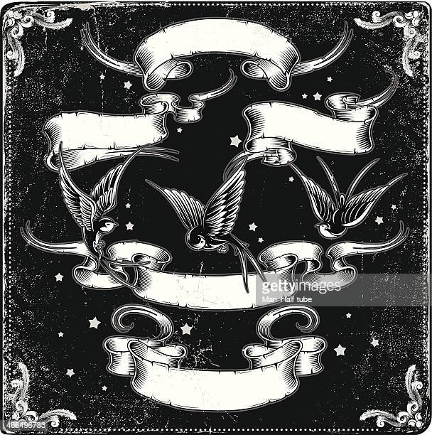 Illustration of ribbons and birds in black and white