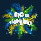 Illustration of Rio de Janeiro from Brazil vacation on color background, colors of the Brazilian flag, Brazil Carnival. Summer. Text of paper style.