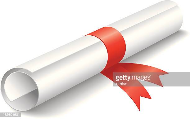 Illustration of rolled up diploma with red ribbon