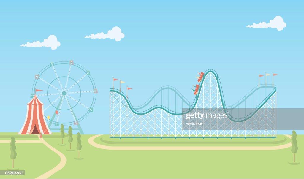 Illustration of roller coaster and ferris wheel : stock illustration