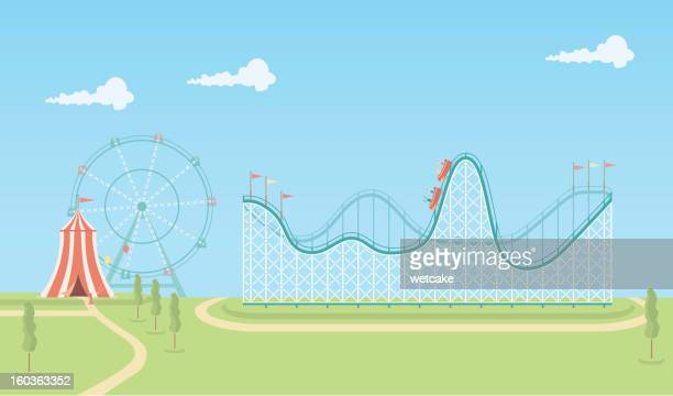 illustration of roller coaster and ferris wheel - ferris wheel stock illustrations, clip art, cartoons, & icons