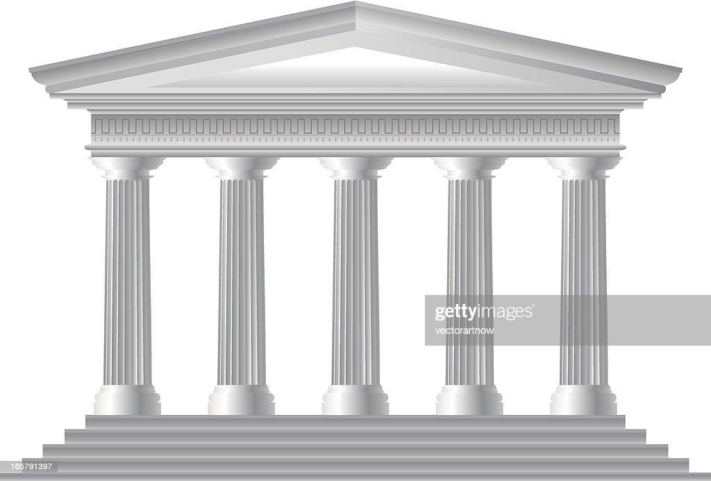 Illustration of Roman temple facade : stock illustration