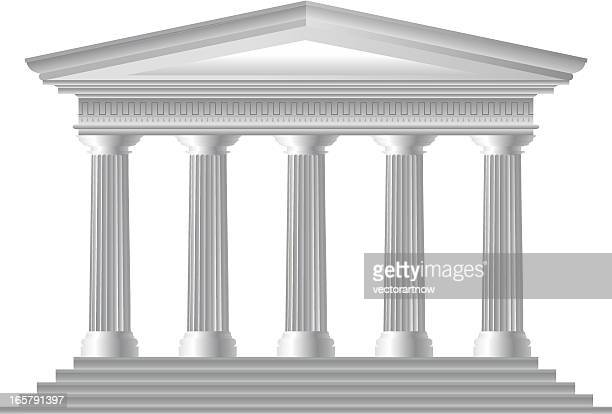 illustration of roman temple facade - greek culture stock illustrations, clip art, cartoons, & icons