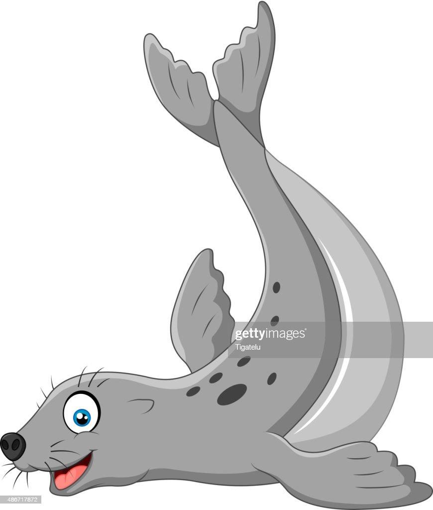 Illustration of seals happy smile on white back ground