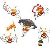 illustration of  set of cute cartoon yellow bees