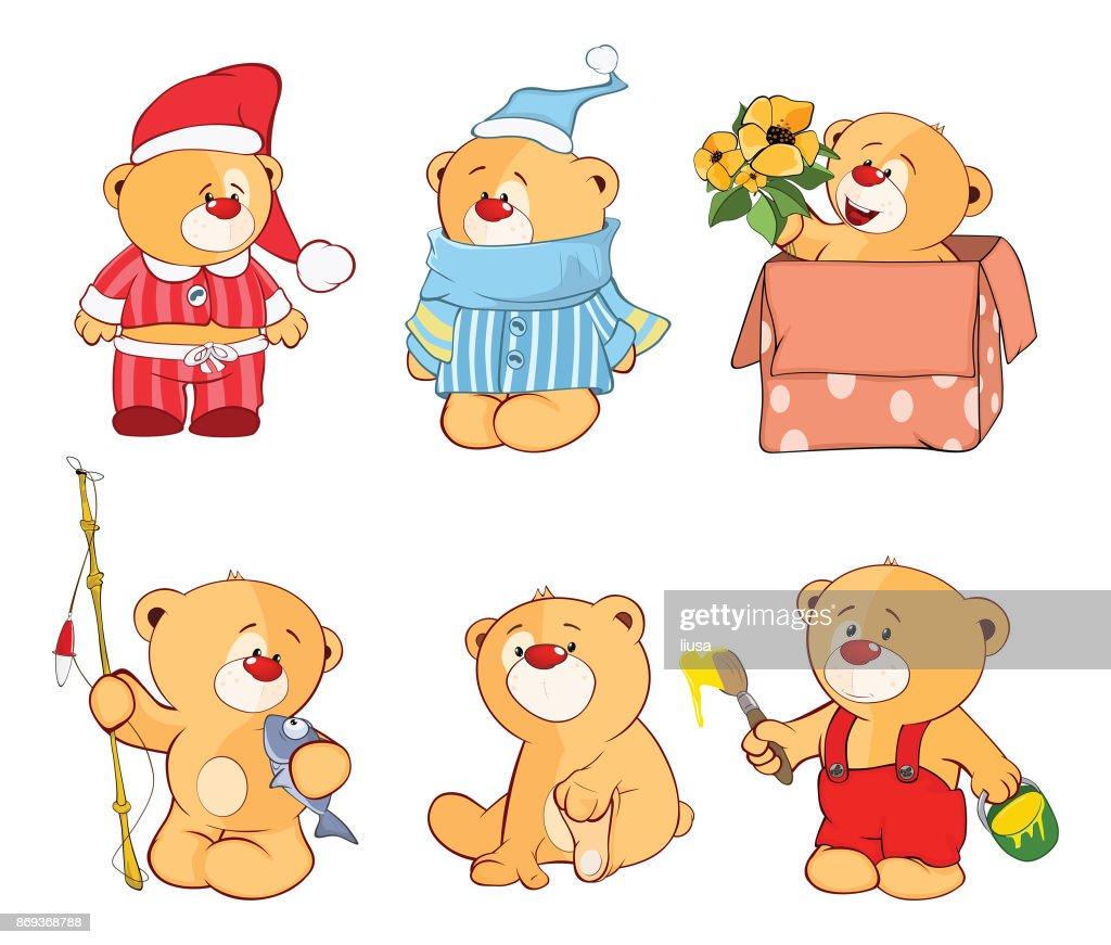 Illustration of  set of Stuffed Bears Cartoon Character