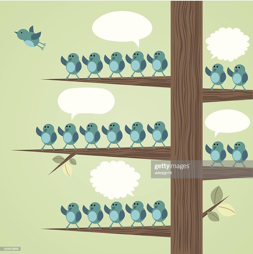 Illustration of Several blue birds resting on a tree