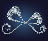 illustration of shiny ribbon made up a lot of diamonds on the black background