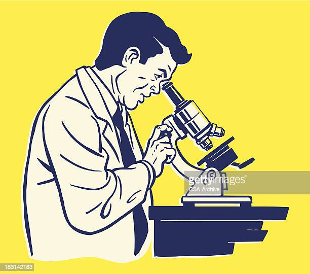 Illustration of side view of scientist using microscope