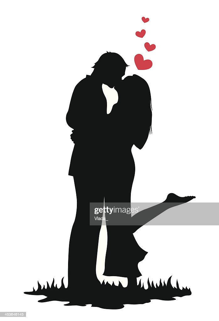 Illustration of silhouette of a couple kissing with hearts