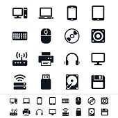 Illustration of simple computer vector icons