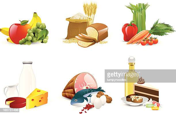 illustration of six different food groups - group of objects stock illustrations