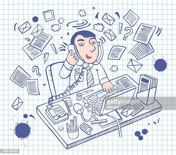 ilustrações, clipart, desenhos animados e ícones de ilustração de esboço homem de escritório - livro de exercícios