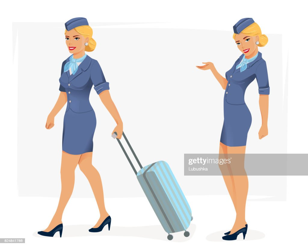 illustration of smiling stewardess