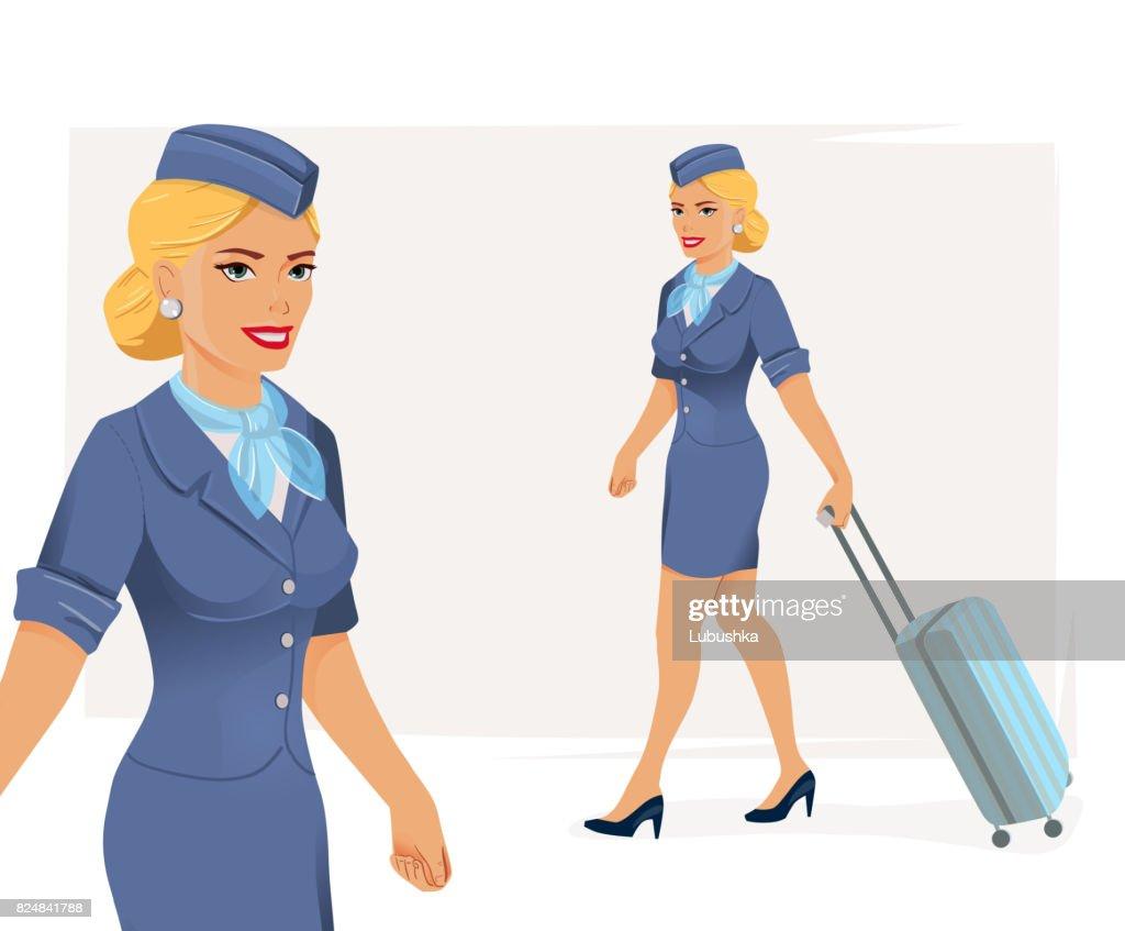 illustration of smiling stewardess