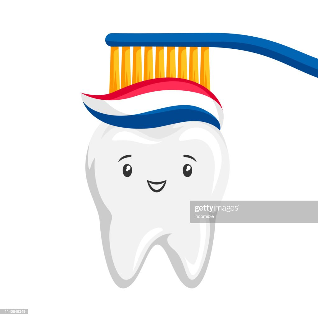 Illustration of smiling tooth brushing paste.