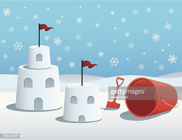 illustration of snow castles and red pail on snowy day. - winterdienst stock illustrations
