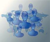Illustration of social media friends on world map
