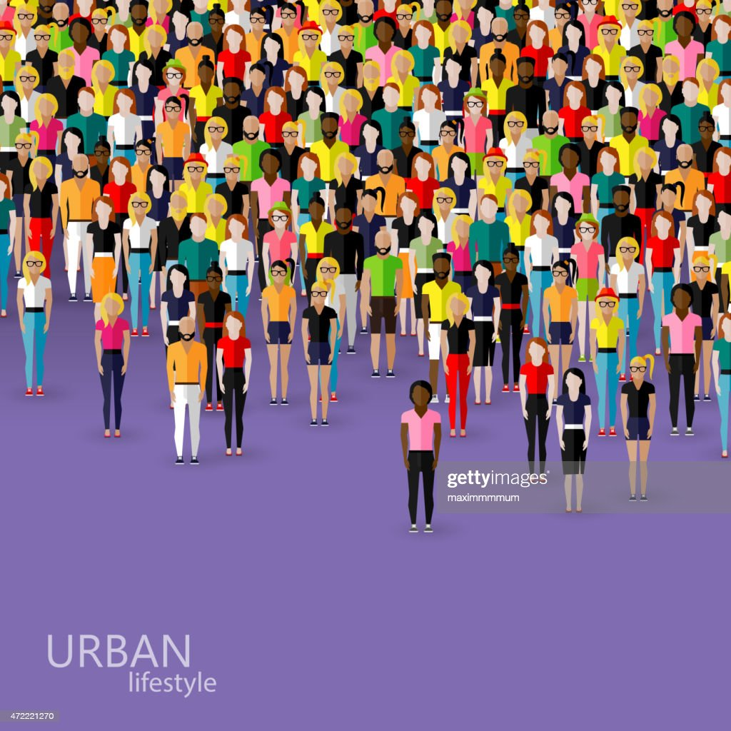 illustration of society members with crowd of men and women