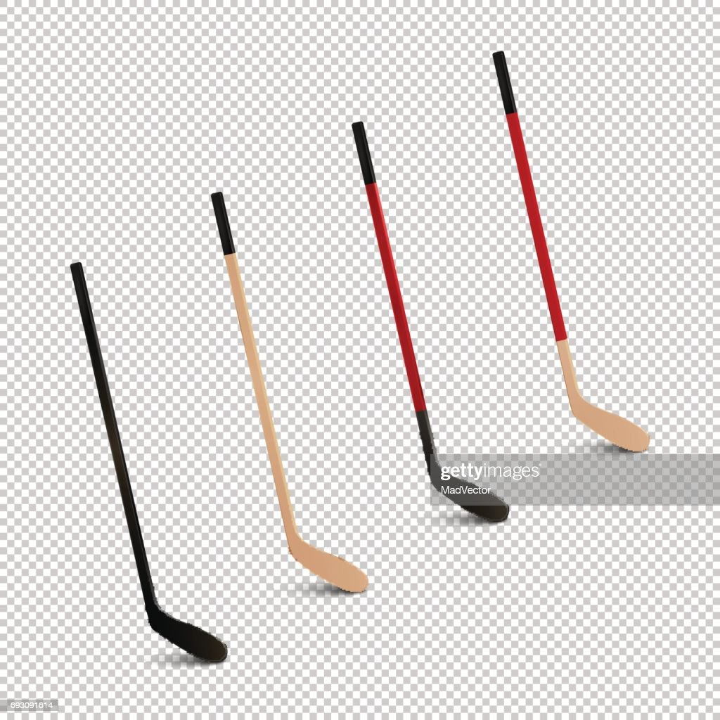Illustration of sports realistic icon set - ice hockey sticks. Design templates in vector. Closeup isolated on transparent background