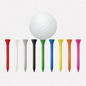 Illustration of sports set - realistic golf ball with tees. Design templates in vector. Closeup isolated on transparent background