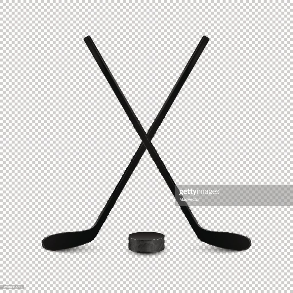 Illustration of sports set - two realistic crossed hockey sticks and puck. Design templates in vector. Closeup isolated on transparent background