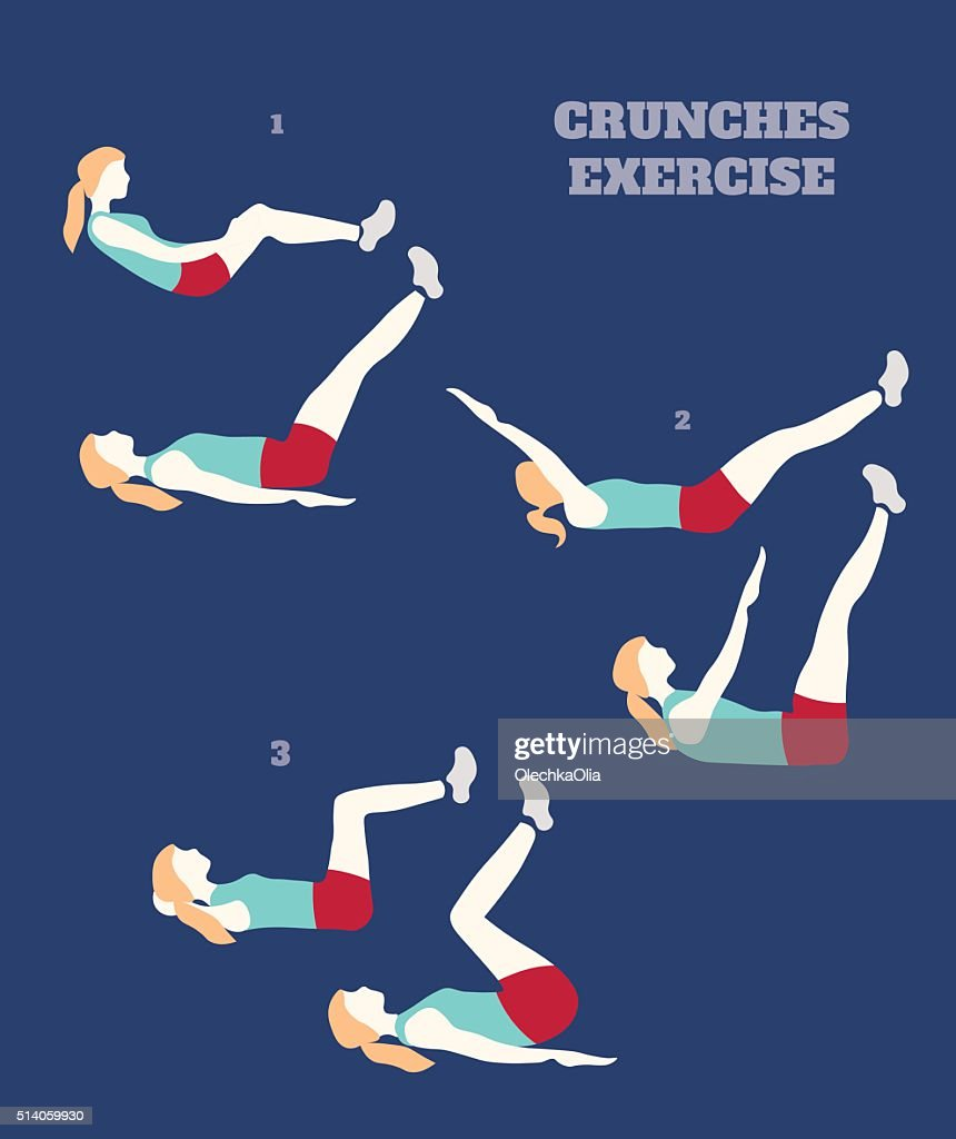 Illustration of  sporty woman making crunches exercise