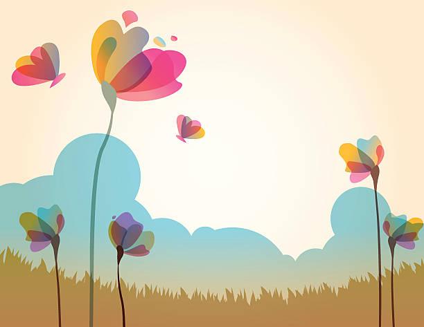 illustration of spring grass field with flowers - femininity stock illustrations